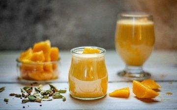 напиток, тыква, семечки, сок, манго, смузи