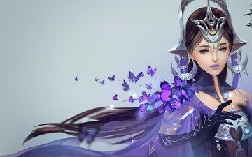 арт, девушка, бабочка, бабочки, магия, цзянь ван
