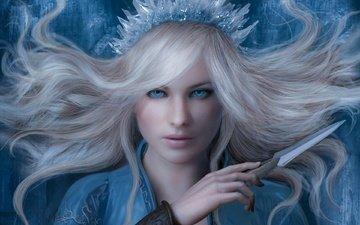 арт, девушка, взгляд, фэнтези, волосы, лицо, снежная королева, sze jones