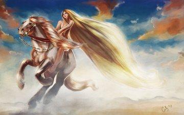 небо, арт, облака, девушка, животное, конь, грива, скачет, длинные волосы, lady godiva