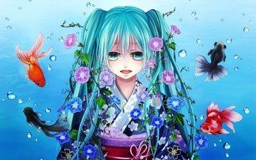 арт, девушка, рыбки, рыбы, вокалоид, мику хацунэ