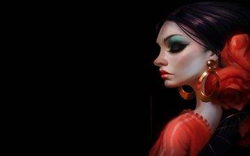 арт, девушка, профиль, макияж, закрытые глаза, танцовщица, daniel orive, rocio de flamenco