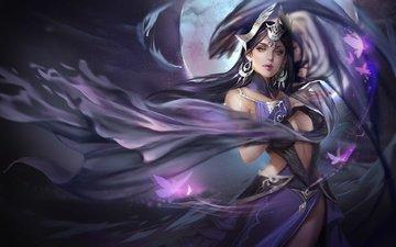 арт, ночь, девушка, воин, луна, магия, фантазии, wang yue