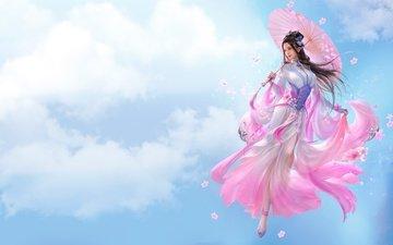 art, clouds, girl, look, hair, the game, face, umbrella, fantasy