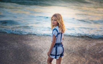 берег, море, взгляд, девочка, волосы, лицо, edie layland, the wave