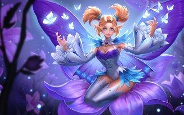 цветы, арт, девушка, улыбка, крылья, аниме, фея, игра, бабочки, магия