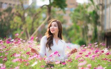 цветы, девушка, улыбка, взгляд, волосы, лицо, азиатка, боке, космея