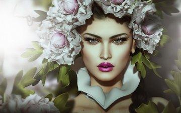 цветы, девушка, портрет, взгляд, губы, лицо, венок