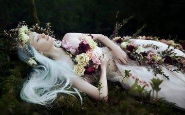 цветы, девушка, поза, лицо, невеста, белые волосы, закрытые глаза, bella kotak