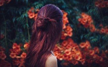 цветы, девушка, модель, волосы, прическа, загадка, боке
