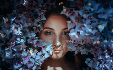 цветы, девушка, портрет, взгляд, модель, губы, лицо, макияж, alexandra, estival