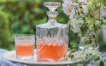 цветы, лето, стакан, графин, лимонад