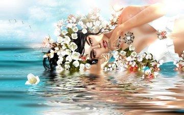 цветы, вода, девушка, взгляд, волосы, лицо