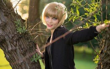 дерево, девушка, улыбка, взгляд, волосы, лицо, софья