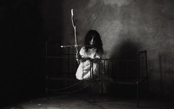 black and white, girl, room, angel of death