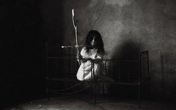 чёрно-белое, девочка, комната, angel of death