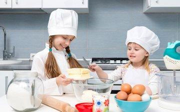 улыбка, дети, кухня, масло, девочки, яйца, двое, банка, пирог, повар, мука