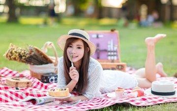 девушка, взгляд, лицо, шляпа, азиатка, пикник, боке