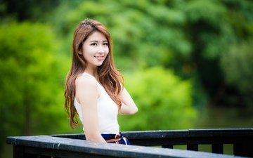 девушка, улыбка, взгляд, размытость, волосы, лицо, азиатка