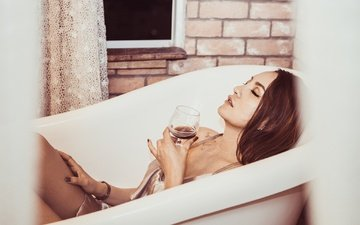 girl, profile, glass, hair, face, wine, makeup, bath, closed eyes