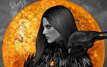 девушка, фон, взгляд, луна, профиль, птица, волосы, лицо, ворон, плечо, желтые глаза