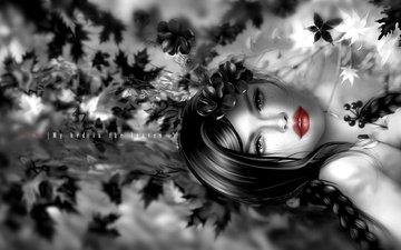 листья, девушка, брюнетка, взгляд, волосы, губы, лицо, коса, нуар