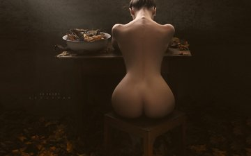 leaves, girl, brunette, autumn, model, figure, beautiful, ass, back, artofdan