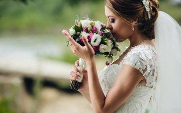 девушка, профиль, букет, макияж, свадьба, белое платье, невеста, фата, закрытые глаза, nude model girls