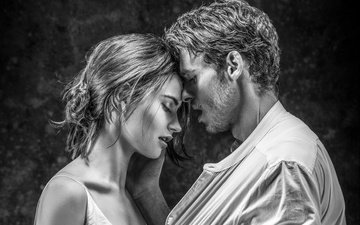 girl, black and white, love, pair, male, feelings, passion, lily james, richard madden