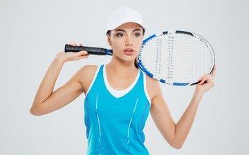 девушка, фон, поза, макияж, теннис, ракетка, кепка, майка, спортсменка