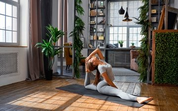 girl, interior, pose, room, hairstyle, mike, brown hair, stretching, fitness, twine, pigtail, mat, leggings, exercise