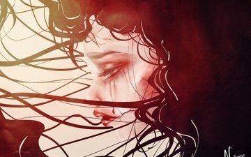 девушка, кровь, взгляд, профиль, готика, волосы, лицо, слезы