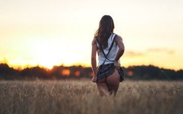 girl, field, summer, skirt, model, back, hair, face, ass