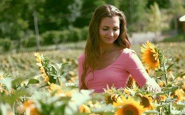 flowers, girl, smile, summer, look, hair, face, sunflowers, bokeh