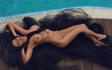 девушка, лежит, бассейн, голая, сексапильная, модел