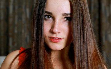 девушка, портрет, взгляд, модель, волосы, губы, лицо, длинные волосы