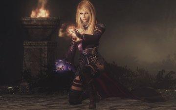 девушка, магия, вампир, mod, the elder scrolls v, скайрим, серана