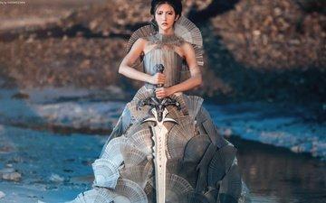 девушка, платье, меч, взгляд, волосы, лицо, азиатка