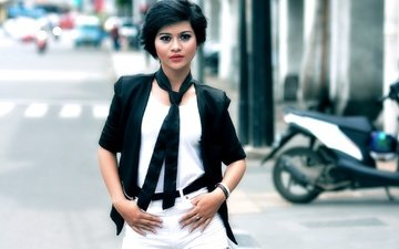 стиль, девушка, брюнетка, взгляд, модель, волосы, лицо, макияж, азиатка, fathia madania