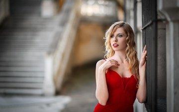 девушка, взгляд, модель, волосы, лицо, красное платье, боке, michela