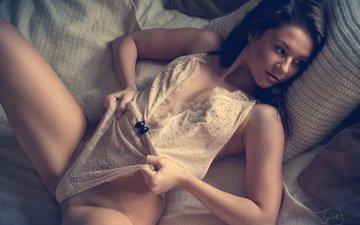 girl, model, bed, lying, lingerie, jack russell