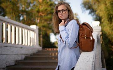 лестница, девушка, взгляд, очки, модель, волосы, лицо, рюкзак, сергей fat