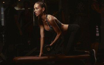 девушка, модель, спортсменка, фитнес, спортивная одежда, тренировки, гантеля