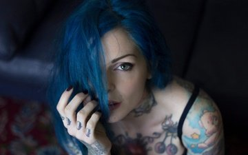 girl, look, model, tattoo, face, blue hair, tatoo, suicide girls, riae
