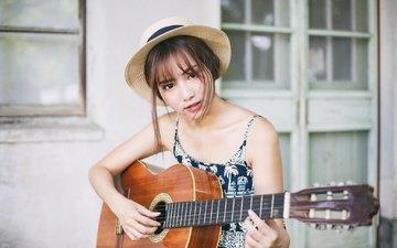 girl, guitar, music, look, face, hat, musical instrument, bare shoulders