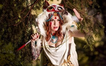 needles, girl, branches, look, red, model, tattoo, face, outfit, cosplay, princess mononoke