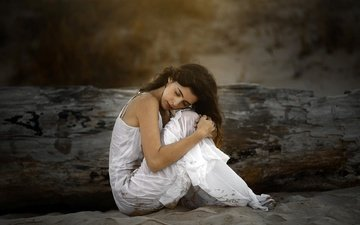 девушка, настроение, волосы, лицо, белое платье, закрытые глаза, ana valenciano