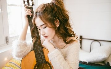 girl, mood, guitar, face, hairstyle, asian, closed eyes