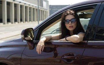 девушка, портрет, взгляд, очки, авто, модель, волосы, лицо, мэри