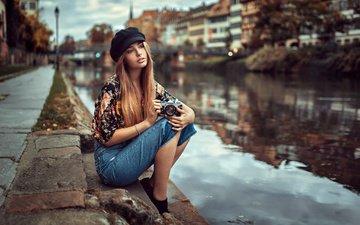 water, girl, look, autumn, street, model, the camera, promenade, photographer, face, cap, long hair, lods franck
